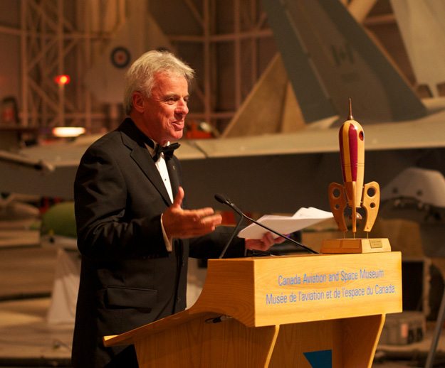 Bob MacDonald about to present a certain whimsical rocket trophy to the winners!