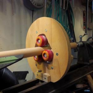 lathe steady rest from skateboard wheels by Nanotray